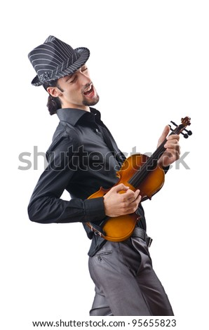 Violin player isolated on white