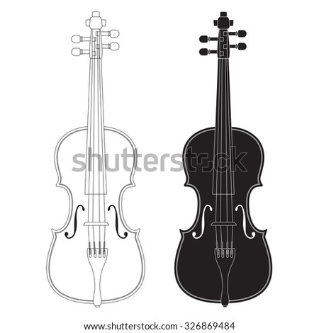Violin. Raster version. Isolated on white.
