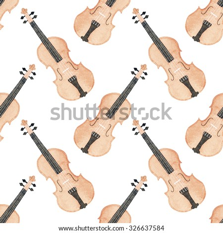 Violin. Seamless pattern with hand-drawn music instrument. Real watercolor drawing - stock photo