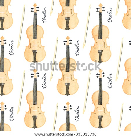 Violin. Seamless pattern with hand-drawn music instrument. Real watercolor drawing