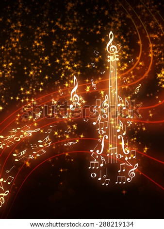 Violin silhouette made from music notes on background with glowing sparks. - stock photo
