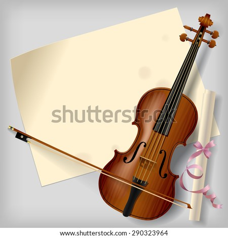 Violin with a paper sheet on a gray background. Vintage artistic blank - stock photo