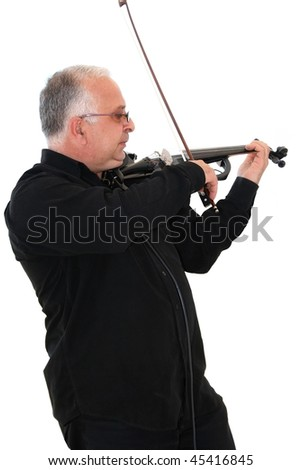 Violinist and composer Robert Hovhannesyan on white background.