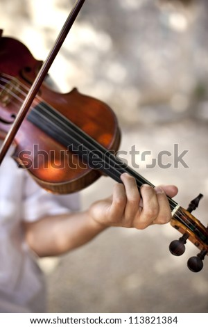 Violinist and his instrument for a concerto