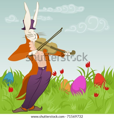 violinist bunny surrounded by easter eggs - for vector version see image no. 71113744 - stock photo