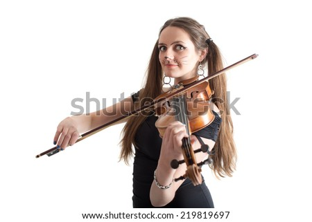 Violinist girl in the image of a cat