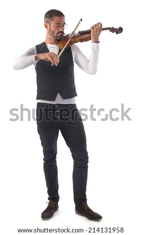 violinist playing in front of white background - stock photo