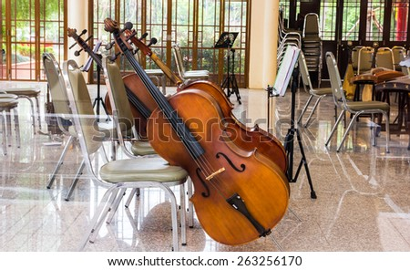 Violoncello in music room - stock photo