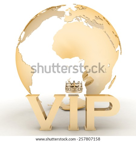 VIP abbreviation with a crown. 3D text on a globe background - stock photo