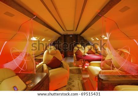 VIP Business Interior Jet Airplane - stock photo