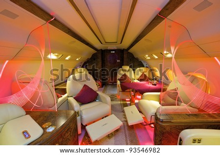 VIP Business Interior Jet Airplane - stock photo