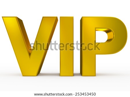 VIP golden - 3d letters isolated on white, front view - stock photo
