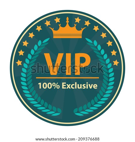 VIP 100 Percent Exclusive Sign on Blue Vintage, Retro Stamp, Icon, Button, Label Isolated on White - stock photo