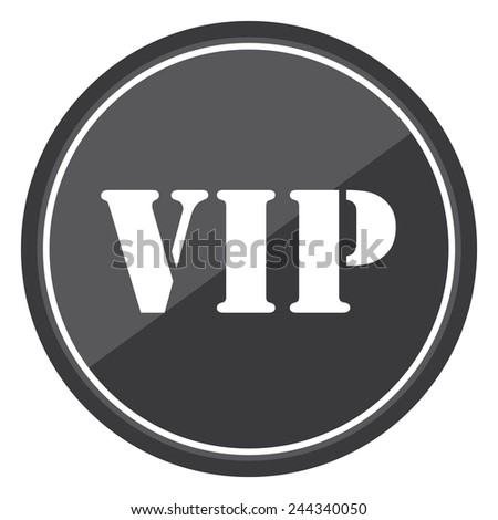 VIP sign on black circle icon, button, label isolated on white  - stock photo