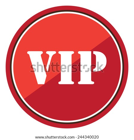 VIP sign on red circle icon, button, label isolated on white  - stock photo