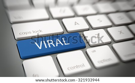 Viral online marketing, brand awareness or meme concept with the word - Viral - on a blue enter button on a computer keyboard with blur vignette. 3d Rendering. - stock photo