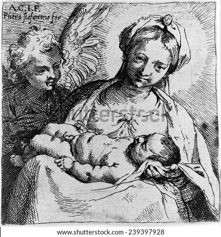 Virgin and child with angel, by Annibale Carracci, circa late 1500s.