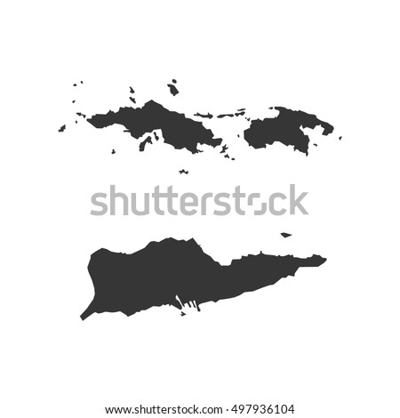 Virgin Islands Of The United States Map Silhouette Ilration On The White Background Ilration