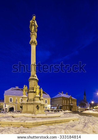 Virgin Mary statue in front of cathedral in Zagreb. Croatia. - stock photo
