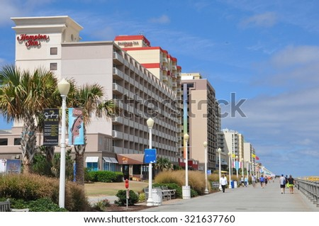 VIRGINIA BEACH, VA - SEP 11: Virginia Beach in Virginia, as seen on Sep 11, 2015. It is a resort city with miles of beaches and hundreds of hotels, motels, and restaurants along its oceanfront.  - stock photo