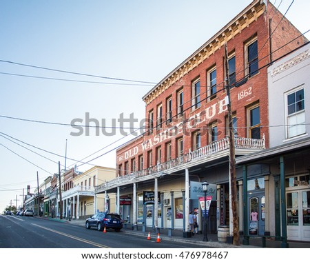 VIRGINIA CITY, NEVADA - AUGUST  6, 2016: View  historic western mining town, Virginia City with view of Old Washoe Club.