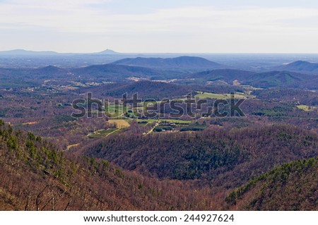 Virginia countryside - view from Blue Ridge Parkway - stock photo