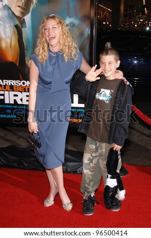 VIRGINIA MADSEN & son JACK at the world premiere of her new movie Firewall at the Grauman's Chinese Theatre, Hollywood. February 2, 2006  Los Angeles, CA.  2006 Paul Smith / Featureflash