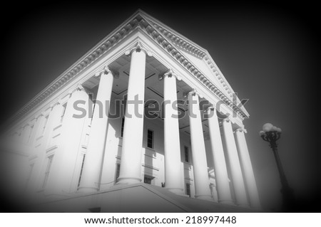 Virginia state capitol building in black and white - stock photo