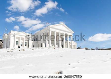 Virginia State Capitol - Richmond (Snow) - stock photo