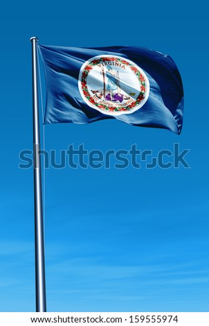 Virginia (USA) flag waving in the wind - stock photo