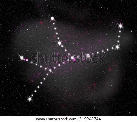 Virgo zodiac sign. Constellation map. Constellations background. Space stars wallpaper. Horoscope constellations background. Zodiac constellations. Galactic constellations and stars. - stock photo