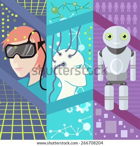 Virtual and augmented reality gadgets, people wearing head-mounted displays, brain is connected to network. Concepts of artificial intelligence reality virtual robotechnics flat design. Raster version - stock photo