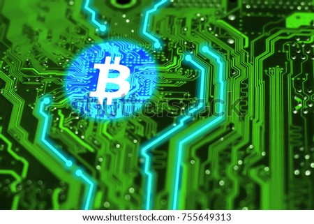 Virtual bitcoin on integrated circuit with blue tracks. Blockchain and cryptocurrency concept background.