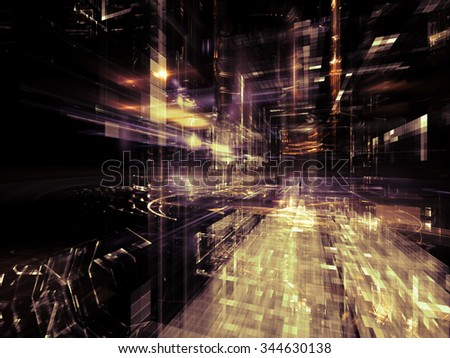 Virtual City series. Interplay of fractal forms in three dimensional space on the subject of virtual reality, science and modern technology