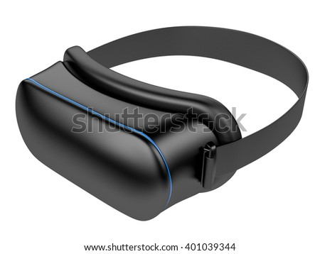 Virtual 3d reality blcak goggles isolated on a white background