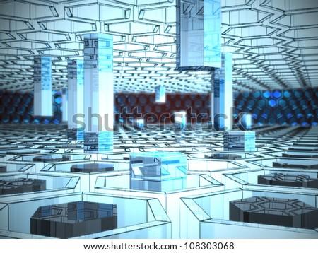 virtual digital city - stock photo