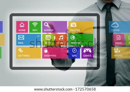 virtual digital tablet with colorful app icons - stock photo