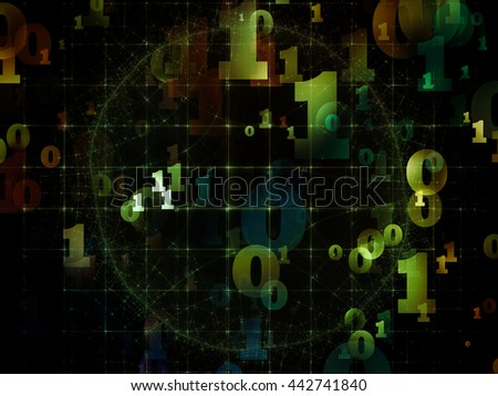 Virtual Field series. Composition of space ripples and numbers on the subject of math, science, research and modern technology - stock photo
