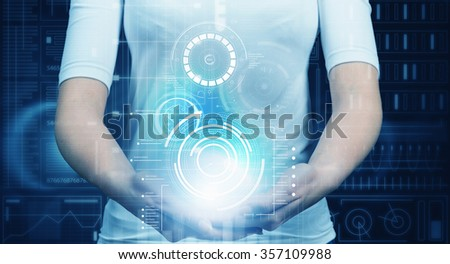 Virtual holographic interface and close up of woman in white - stock photo