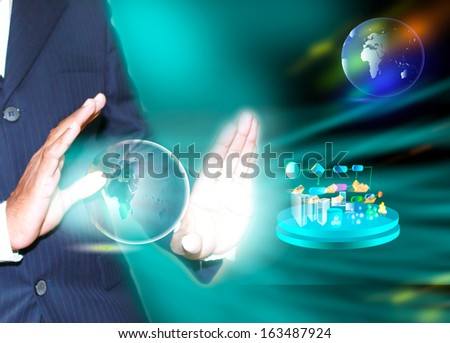 virtual image of a business man wizard, which demonstrates the people, business process and systems, technology relate each other and globally  - stock photo
