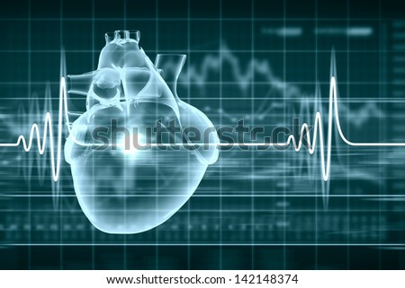 Virtual image of human heart with cardiogram - stock photo