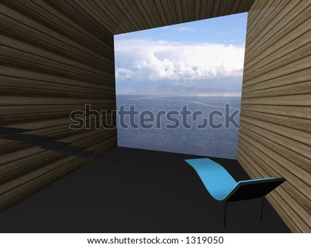 Virtual interior with a deckchair and great view at sea