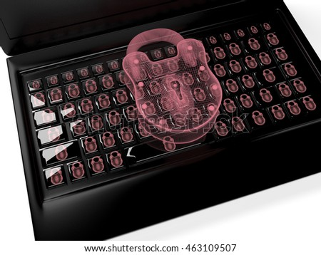 virtual lock to the keypad, information security concept 3d render
