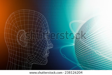virtual man watching spinning digital binary code globe in cyberspace.  - stock photo