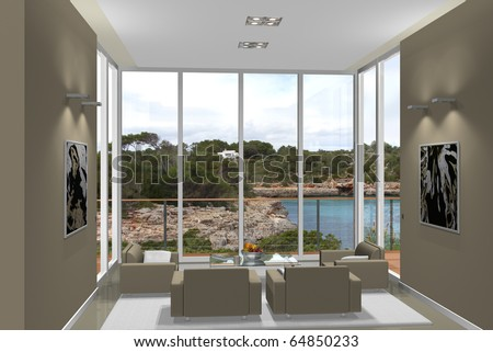 Virtual modern living room with a fantastic view to a mediterranean bay - stock photo