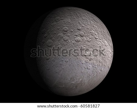 Virtual Planets Rhea Moon 01 - stock photo