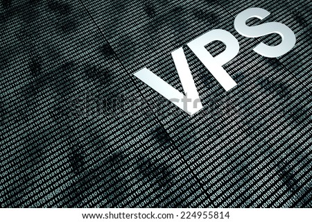 Virtual Private server and binary code. 3d rendered illustration. - stock photo