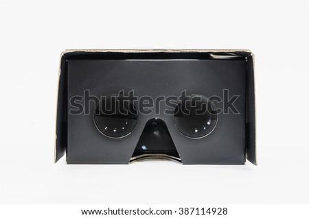 Virtual reality cardboard glasses - stock photo