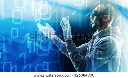 Virtual reality glasses and hacker attack - stock photo
