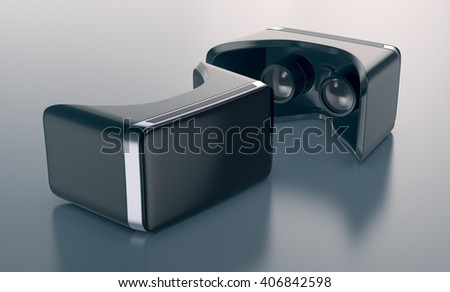 virtual reality glasses on a reflective surface(3d render) - stock photo